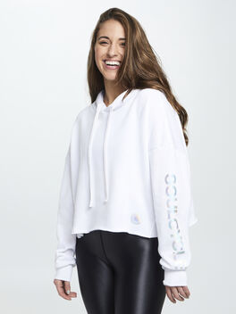 Frost Hoodie W/ Iridescent Foil, White, large