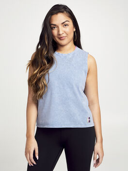 Crop Boxy Muscle Tank, Blue Mineral Wash, large