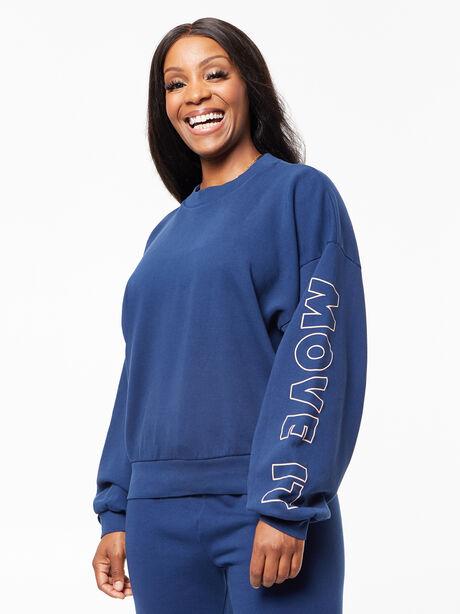 The Loosen Up Crop Sweatshirt Insignia Blue, Blue, large image number 0