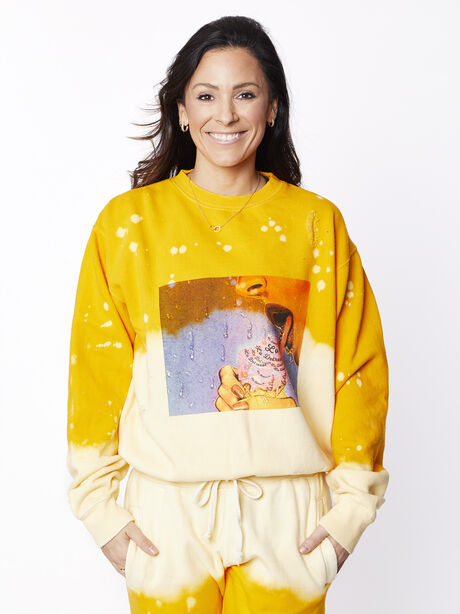 Acid Wash Sunrise Licked It Pullover, Yellow, large image number 0