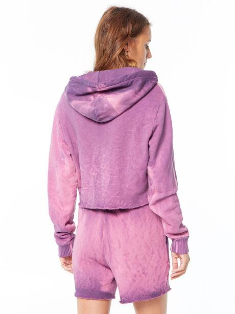 Brooklyn Cropped Quarter-Zip Hoodie Lavender Mix, Purple, large image number 3