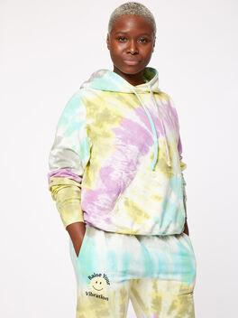 Boyfriend Hoodie Rainbow Tie-Dye, Tie Dye, large