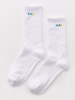 Mid Calf Sock White, White, large