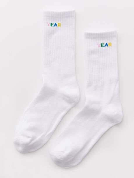 Mid Calf Sock White, White, large image number 0
