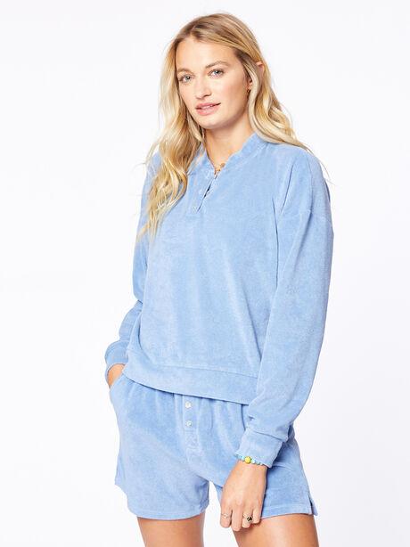 Terry Henley Sweatshirt Denim, Blue Denim, large image number 0