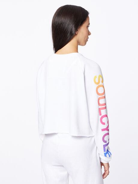 Exclusive Classic Cropped Crew Sweatshirt White/Rainbow, White, large image number 3