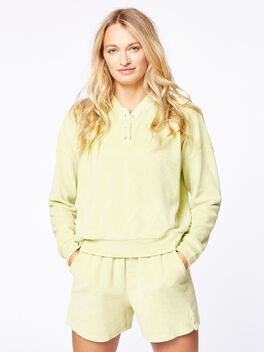 Terry Henley Sweatshirt Lime, Green, large