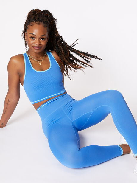 Ribbed Seamless Bra and Legging Kit Nebulous Blue, Blue Multi, large image number 0