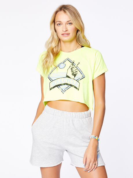 Boyfriend Cropped Tee Yellow, Yellow, large image number 0