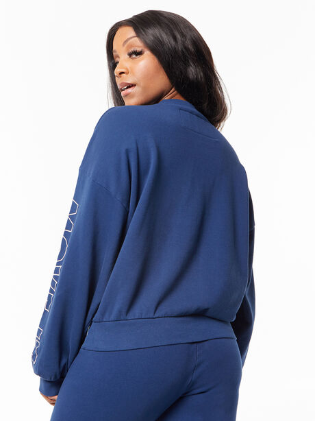 The Loosen Up Crop Sweatshirt Insignia Blue, Blue, large image number 1