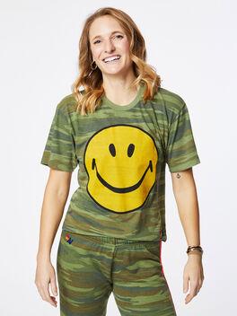 Smiley Boyfriend Tee Camo, Green/Camo, large