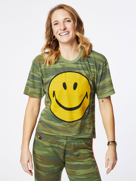 Smiley Boyfriend Tee Camo, Green/Camo, large image number 0