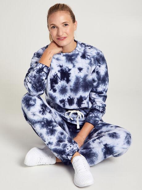 Laura Cropped Tie Dye Sweatshirt, Navy/White, large image number 0