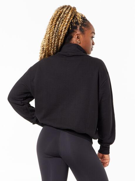 Katie Quarter Zip Sweatshirt Black, Black, large image number 3