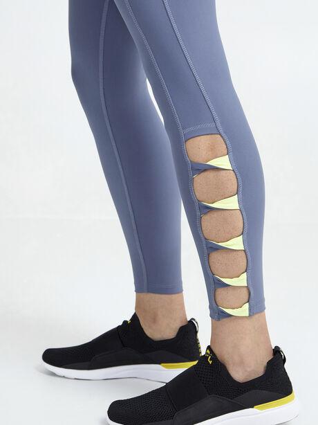 Twist Ladder Legging, Grey/Yellow, large image number 2