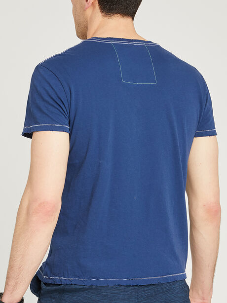 Short-Sleeve Crewneck T-shirt, Navy, large image number 1