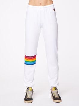 Rainbow Stitch Sweatpant White, White, large