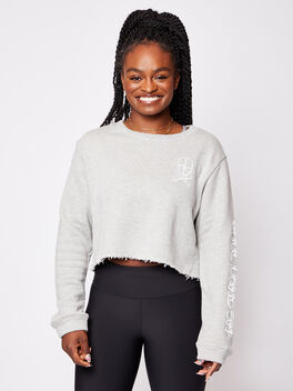 London Casey Crop Sweatshirt, Heather Grey, large
