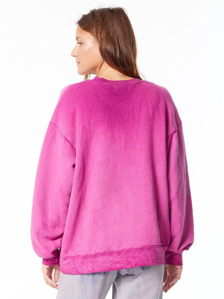 Oversized Brooklyn Crew Neck Sweatshirt Magenta Mix, Magenta, large image number 3