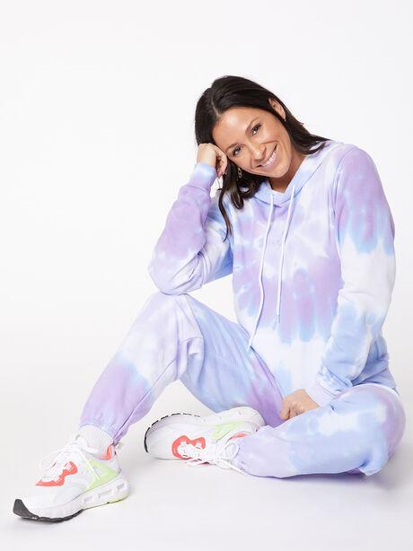 Tie-Dye Billie Hoodie Ice/Lavender, BLUE/PURPLE, large image number 0