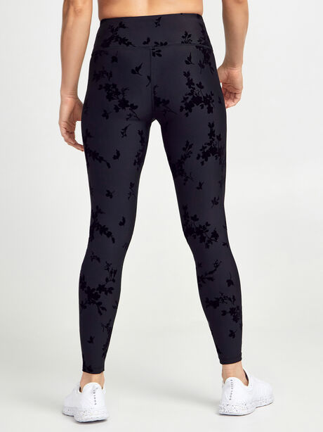 Velvet Flocked Floral Print Leggings, Black, large image number 1