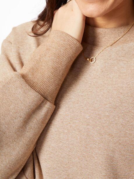 Edith Ribbed Pique Sweatshirt Biscuit, Tan, large image number 2