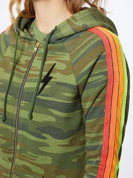 Classic 4 Stripe Zip-Up Hoodie Camo, Green/Camo, large image number 1