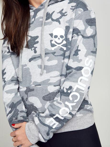 Grey Camo Cropped Hoodie, Grey, large image number 1