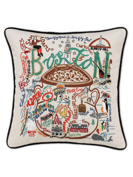 Hand Embroidered Regional Pillow, Boston, large