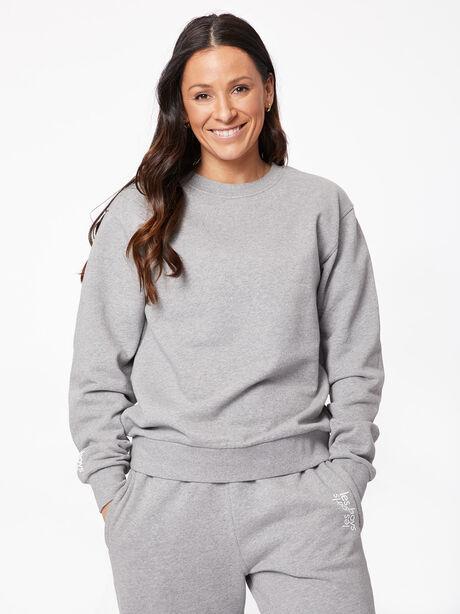 Oversized Crew Neck Sweatshirt Grey Marl, Grey, large image number 1