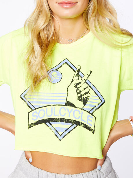 Boyfriend Cropped Tee Yellow, Yellow, large image number 1