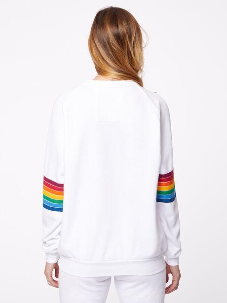 Rainbow Stitch Crew Sweatshirt White, White, large image number 3