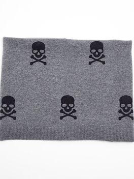 Cashmere Blanket With Skulls, Grey, large