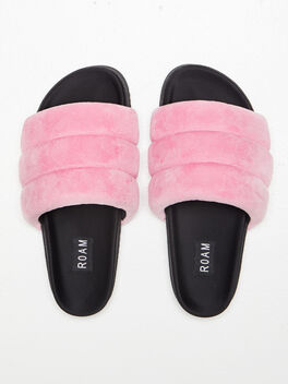 The Puffy Slide Suede Pink, Pink, large