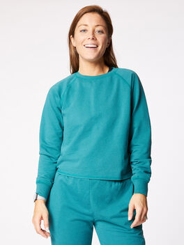 Bella Crew Neck Sweatshirt Winter Green, Green, large