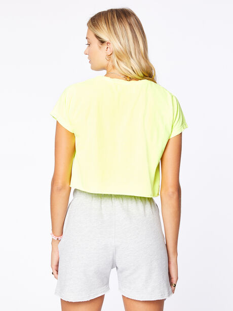 Boyfriend Cropped Tee Yellow, Yellow, large image number 2