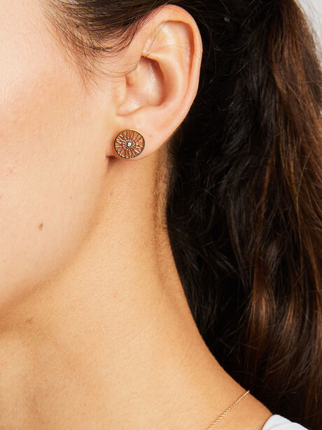 Single Wheel Earring w/Diamond, Gold, large image number 0