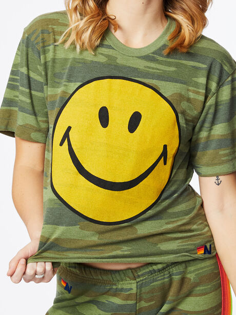 Smiley Boyfriend Tee Camo, Green/Camo, large image number 1