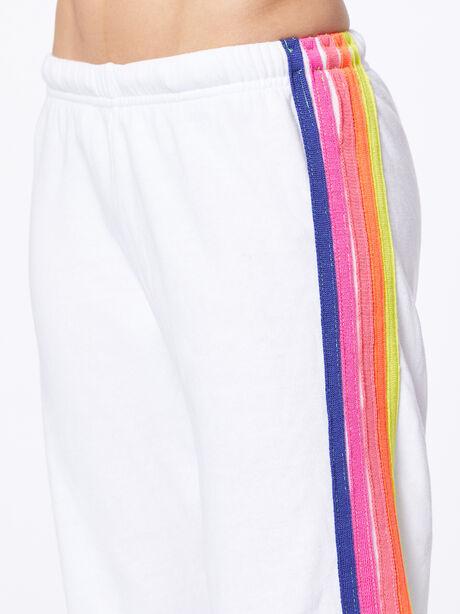 Exclusive 5 Stripe Sweatpant White/Rainbow Hamptons, White, large image number 2