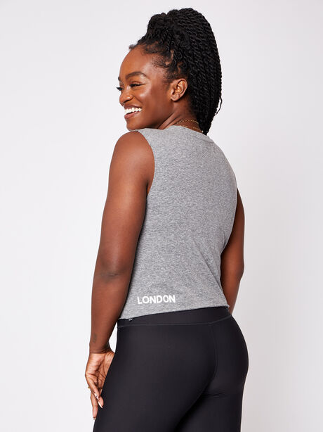 London Cropped Muscle Tank with Soul, Heather Grey, large image number 3