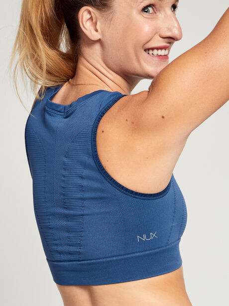 Steely Skies One by One Cropped Sports Bra, Blue, large image number 2