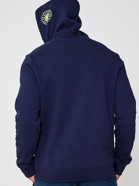 Fleece Hoodie Sweatshirt, Navy, large image number 2