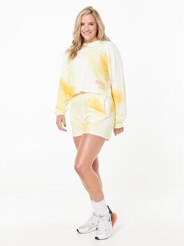 Casey Crop Sweatshirt Yellow Tie Dye, Yellow/White, large