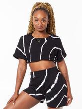 YOS x Lindsey Cropped Tee Black Tie Dye, Tie Dye/Black, large