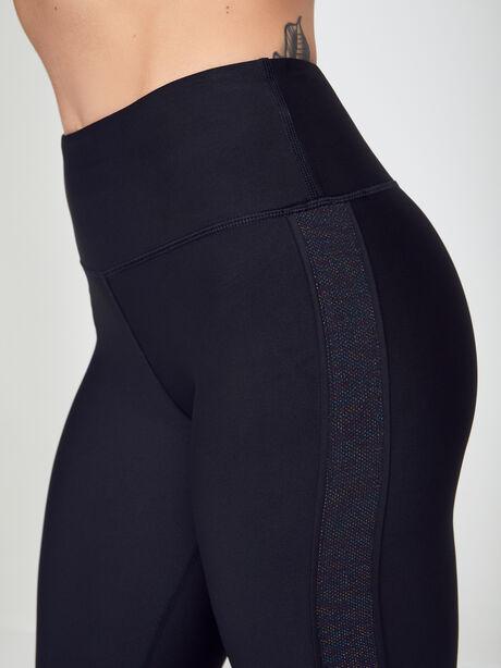 Novelty Inset Leggings, Black, large image number 1