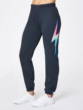 Bolt Sweatpant Charcoal, Black/Pink, large