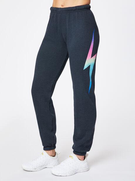 Bolt Sweatpant Charcoal, Black/Pink, large image number 0