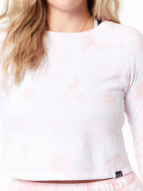 Don't Stop Crop Long Sleeve Rose Cloud, White/Pink, large image number 1