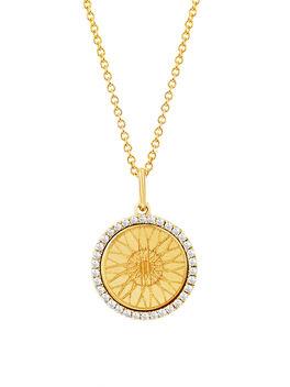 Diamond Wheel Necklace, Gold, large
