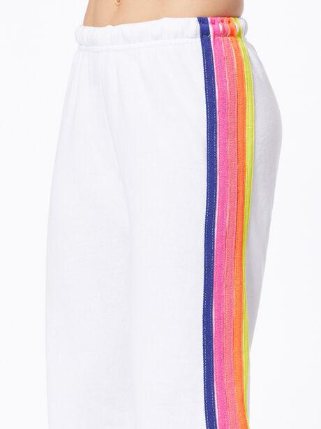 Exclusive 5 Stripe Sweatpant White/Rainbow, White, large image number 2